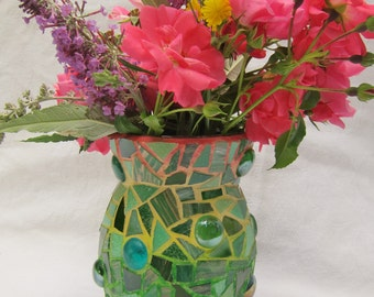Mosaic Vase with Rainbow Grout!