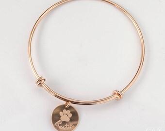 Dog bangle personalized, custom paw print bangle, pet bangle, in memory of dog, pet memorial jewelry memorial jewelry rose gold dog bracelet