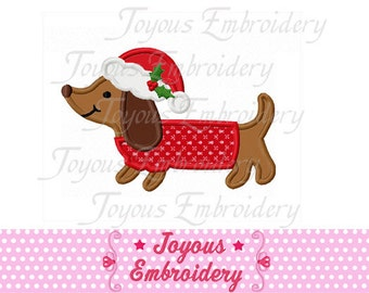 Instant Download Christmas Dachshund Applique Machine Embroidery Design NO:1409