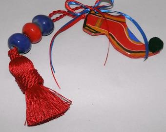 Greek Handmade Traditional Ceramic Rustic Folklore Shoe TSAROUHI with beaded tassle Gift Wrap