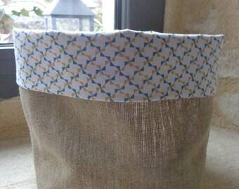 Corbeille vide poche en lin naturel doublée de tissu imprimé blanc bleu et jaune moutarde