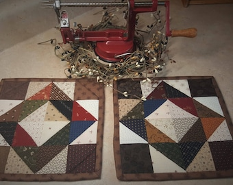 Quilted Potholders / Potholders / Scrappy Potholders / Patchwork Potholders  / Country Potholders / Primitive Decor