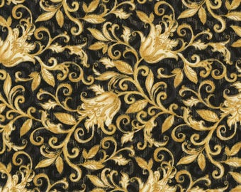 SALE Metallic Floral Scroll Fabric; CM4986; 1/2 Yard, By the Yard; Timeless Treasures; Natalia; Christmas; Black/Gold; Metallic Fabric