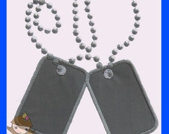 Dog tags embroidery design