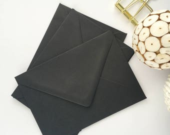 50 4x6 Black Envelopes A6 Envelopes C6 Envelopes for modern wedding invitation envelopes/card making/diy craft 114x162mm 4.1/2 x 6.3/10""