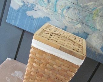 Vintage 80's Natural Woven Rattan Laundry Hamper - Clothes Basket - German - Toy Box - Linen Storage