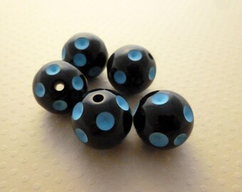 Set of 5 bead acrylic dots blue 20mm - PA20 0313