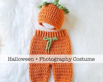 Pumpkin Hat, Newborn Pumpkin Costume, Baby Halloween Costume, Baby Pumpkin Costume, Crochet Pumpkin Hat, Thanksgiving Hat, Newborn Outfit