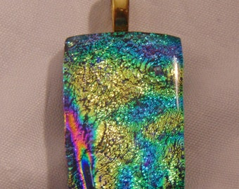 Dichroic Fused Glass Pendant Yellow, Green, Purple with some Magenta