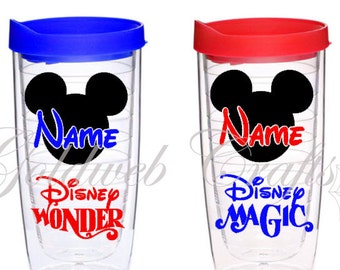 Disney Cruise Line Tervis Style Acrylic Tumbler, Inspired with your name in Mickey Head Pacific  16 oz, Fish Extender Gift