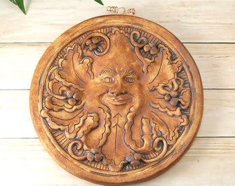 Garden Green Man Handmade Pottery Greenman Pagan Earth Spirit Garden Sculpture Wicca Medieval, Nature Lovers, Housewarming Gift, 729