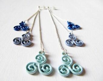 Celtic earrings 3 triskels enamel greyish blue pale green dark blue silver-tone chain
