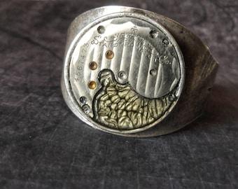 SALE!!!! Butterfly Wing Steampunk Cuff, Antique Watchplate Bracelet, Steampunk Butterfly  Jewelry, Steampunk Watch Cuff Insect Steampunk