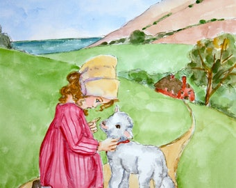 Mary's Little Lamb Watercolor