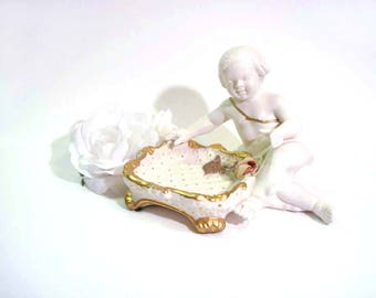 Vintage Italy Benrose Capodimonte Cherub Ring Dish Hollywood Regency Gold Gilt