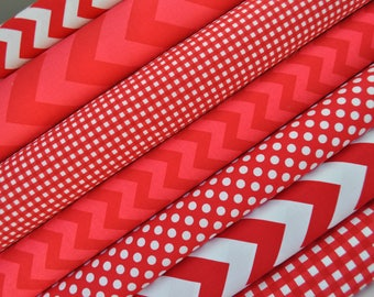 Red Fabric Bundle of Chevron, Dots, Gingham from Riley Blake Designs - Perfect for Christmas. 100% cotton - Select Your Length