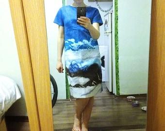 Woolen blue felt dress with a pattern