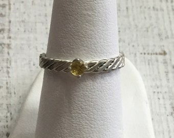 Citrine Argentium Sterling Silver Ring. Size 5.25