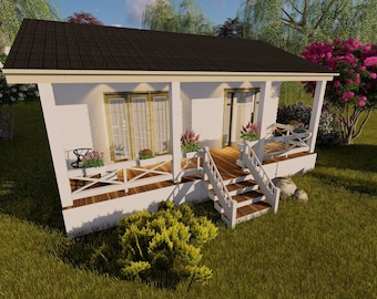 TINY HOUSE Plans One Bedroom Home Cottage Small Tiny Living on CD