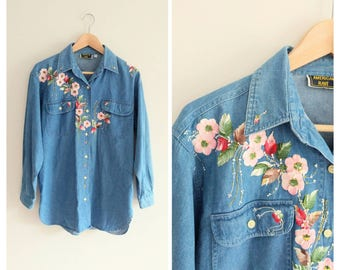 Vintage 1990s 90s Jean Denim Blouse Shirt Hand Painted Flowers Top Vine