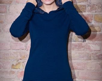 Hoodie Dress Generale Dark-Blue-Plaid / Hooded dress