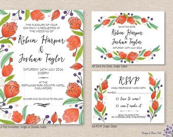 Orange Bloom Invitation Set