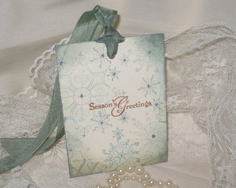 Vintage Christmas Hand Stamped Season's Greetings Gift Tags with Silver Glitter Set of 6 Hang Tags