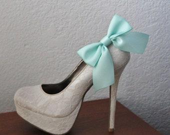Mint Green Ribbon Bow Shoe Clips - 1 Pair