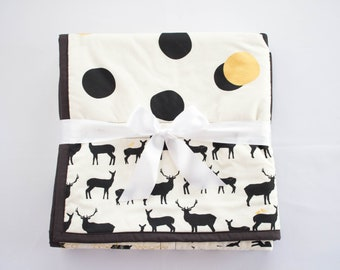 Black and White Woodland Nursery Quilt, Handmade Baby Quilt with Woodland Animals, Deer, Antlers, Dots and Birds, Organic Cotton Baby Quilt