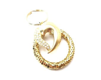 Whiting Davis Signed Vintage Gold Tone Mesh Metal & Clear Rhinestone Heart Keychain / Accessory