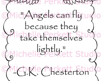 Digital Stamp Angels Clouds Christian Quote Sentiment