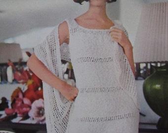1960's Knitting Patterns, Vintage Pattern Women's Knit Dress and Shawl Patterns PDF Patterns 1110