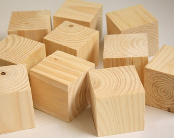 "Pack of 24 (2 Dozen) Unfinished Recycled Wood 1 1/2"" Square Blocks- DIY, Decoupage, Crafting"
