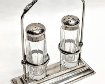 Vintage Victorian Silverplate Salt and Pepper w. Cruet Shaker Holder Marked Set