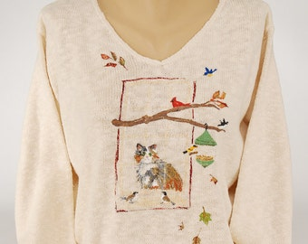 Hand Painted 100% Cotton Sweater - Art-to-wear-  'Window Wishes'-design on Natural Sweater