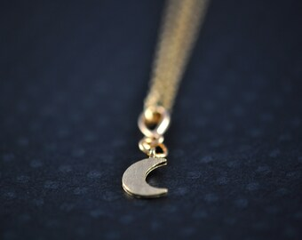 Crescent Moon Necklace - Gold Moon Pendant - Moon Pendant - Aldari Jewelry Designs