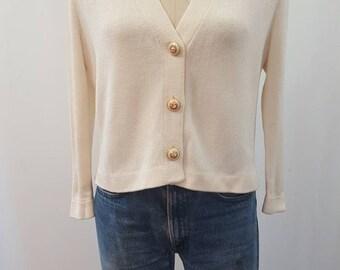 St.John wool knit cropped cardigan sweater size medium