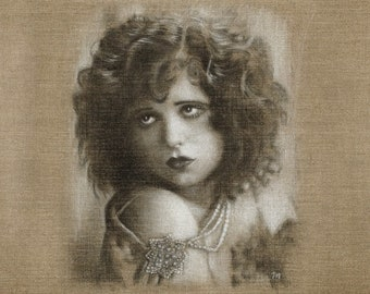 Clara Bow 1920s silent actress realistic art Portrait sketch drawing art rendered Graphite Pencil limited edition signed numbered art