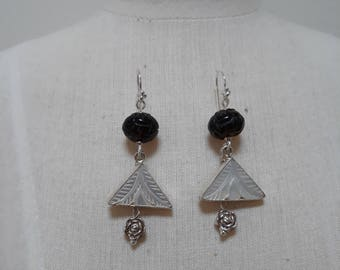Carved Mother of Pearl, Smokey Quartz and sterling silver earrings.