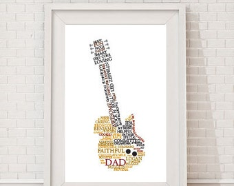 Custom Guitar Word Art