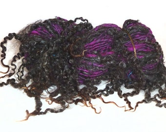 ART YARN handspun Merino wool Wensleydale locks