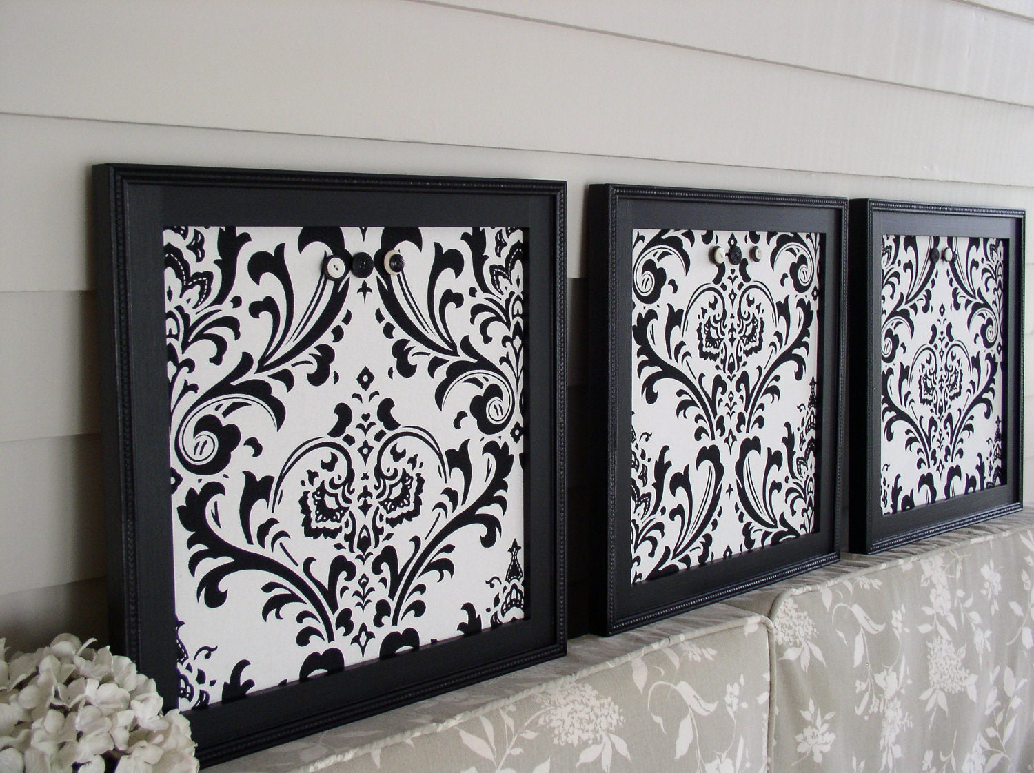 Framed memo boards magnetic set of 3 in black and white damask zoom jeuxipadfo Gallery