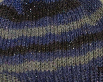 Purple and Silver Basic Slouchy Knit Beanie