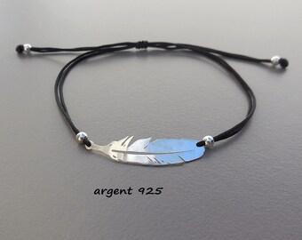 Feather silver cord bracelet black