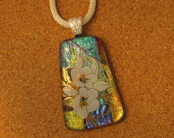 Dichroic Pendant - Dichroic Jewelry - Dichroic Flower Pendant - Fused Glass Pendant - Fused Glass Necklace - Fused Glass Jewelry - Hibiscus