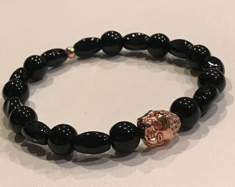Black Onyx w/ Rose Gold accent Bracelet - Gemstone, 6mm or 8mm