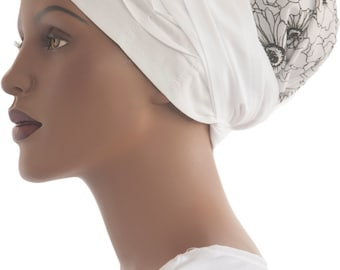 Cotton Wrap Scarf Etched Daisies Tichel Headcovering Chemo Headcovering African Wrap