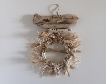 Bohemian hanging driftwood, hemp and cotton, boho Beach decor