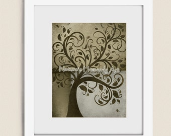 Rustic Brown Decor 11 x 14 Wall Art Whimsical Tree Print, Home Decoration, Gray Green, Earth Tone Art (31)