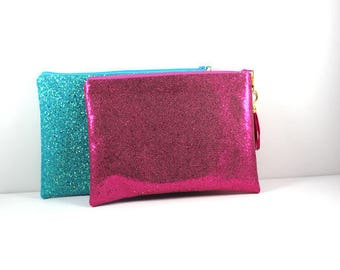 Blue and Pink Glitter Clutches, Dressy Clutch, Evening Bag, Party Clutch,